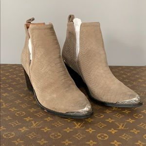 Jeffrey Campbell Cromwell Suede Booties Taupe